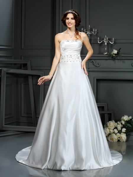 A-Line/Princess Strapless Sleeveless Satin Court Train Wedding Dresses with Beading