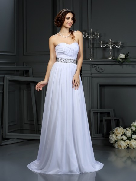 A-Line Sweetheart Sleeveless Chiffon Court Train Wedding Dresses with Beading
