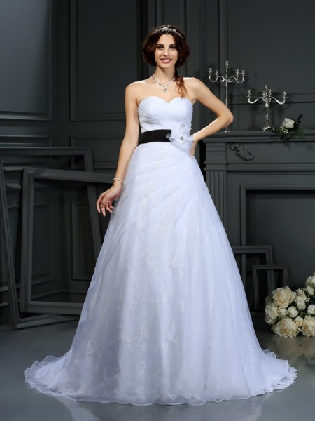 A-Line/Princess Sweetheart Sleeveless Satin Court Train Wedding Dresses with Sash/Ribbon/Belt
