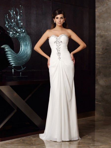 Trumpet/Mermaid Sweetheart Sleeveless Sweep/Brush Train Chiffon Dresses with Beading