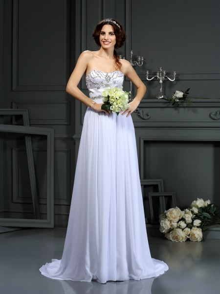 A-Line/Princess Sweetheart Sleeveless Chiffon Court Train Wedding Dresses with Beading