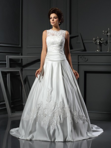 A-Line/Princess High Neck Sleeveless Chapel Train Satin Wedding Dresses with Applique