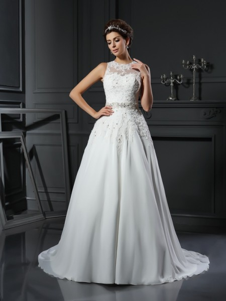 A-Line/Princess Sleeveless High Neck Satin Chapel Train Wedding Dresses with Applique with Beading