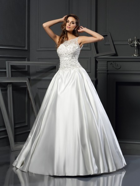 Ball Gown Scoop Sleeveless Satin Chapel Train Wedding Dresses with Applique