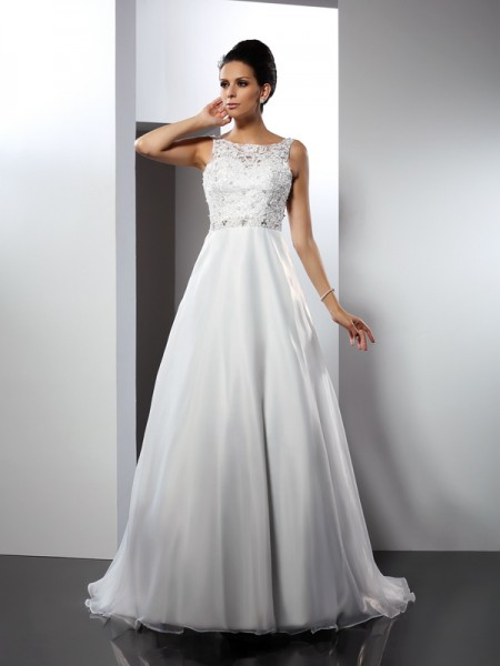 A-Line/Princess Scoop Sleeveless Chapel Train Satin Wedding Dresses with Ruffles