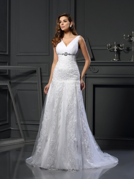 A-Line/Princess Sleeveless V-neck Satin Chapel Train Wedding Dresses with Applique with Beading