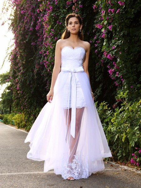 Trumpet/Mermaid Sleeveless Floor-Length Sweetheart Tulle Wedding Dresses with Applique