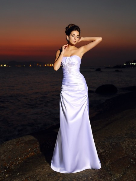 Trumpet/Mermaid Sleeveless Sweetheart Elastic Woven Satin Chapel Train Beach Wedding Dresses