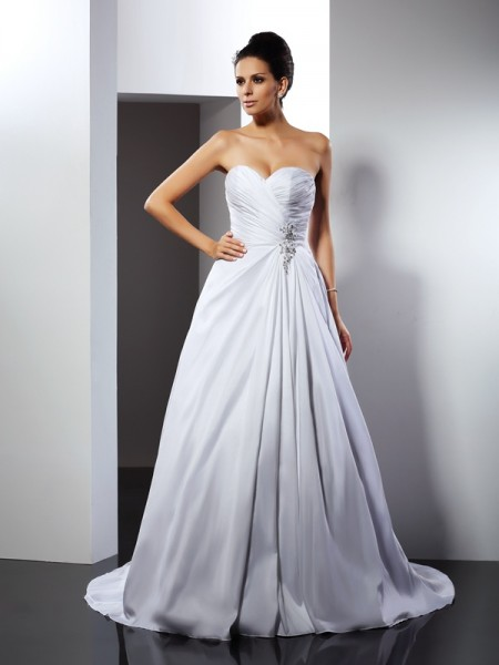 A-Line/Princess Sweetheart Sleeveless Court Train Taffeta Wedding Dresses with Ruffles