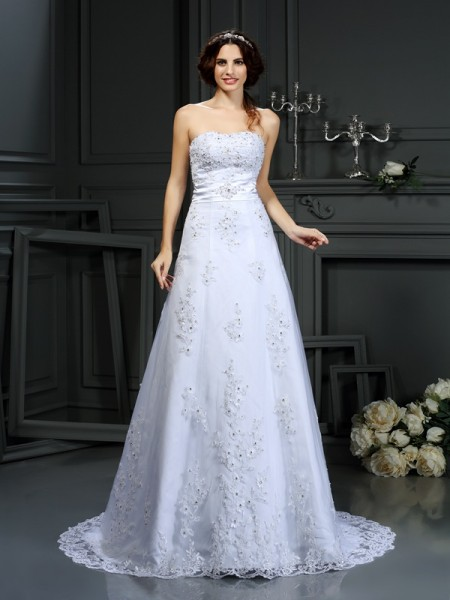 A-Line/Princess Strapless Sleeveless Satin Court Train Wedding Dresses with Applique