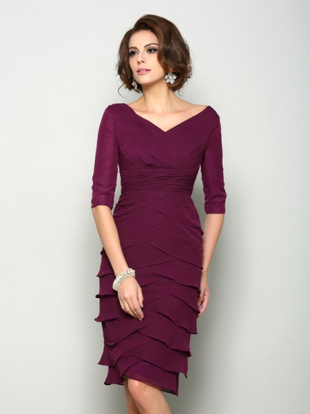 Sheath/Column 1/2 Sleeves V-neck Knee-Length Chiffon Mother of the Bride Dresses