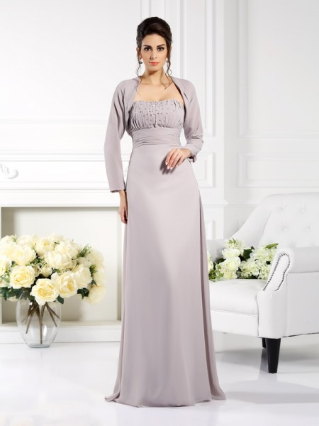 A-Line/Princess Strapless Sleeveless Floor-Length Chiffon Mother of the Bride Dresses with Beading