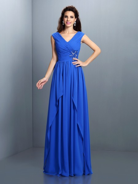 A-Line/Princess V-neck Sleeveless Floor-Length Chiffon Evening/Formal Dresses with Pleats Beading