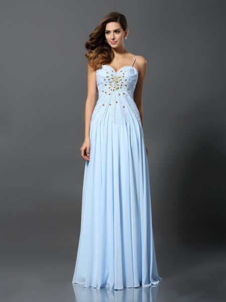 A-Line/Princess Sleeveless Spaghetti Straps Chiffon Sweep/Brush Train Prom Dresses with Beading