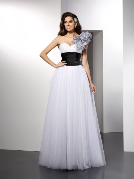 A-Line/Princess One-Shoulder Sleeveless Floor-Length Net Dresses with Sash/Ribbon/Belt