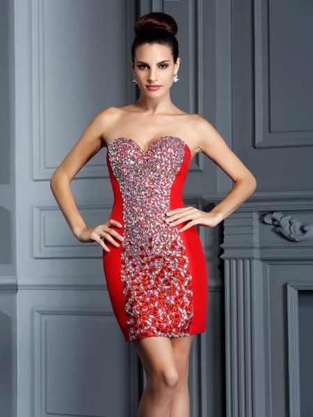 Sheath/Column Sweetheart Sleeveless Embroidery Short/Mini Taffeta Dresses