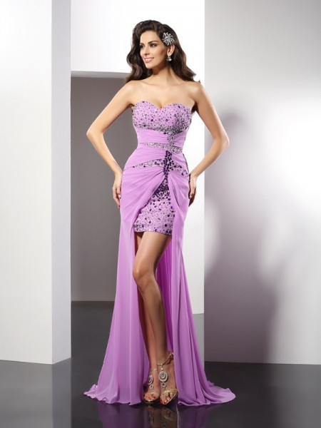 Sheath/Column Sweetheart Sleeveless Floor-Length Silk like Satin Evening/Formal Dresses with Beading