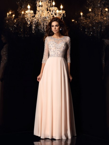 A-Line/Princess Scoop Chiffon 3/4 Sleeves Long Dresses with Beading