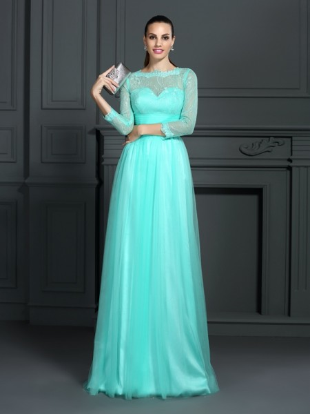 A-Line/Princess Bateau 3/4 Sleeves Lace Sweep/Brush Train Elastic Woven Satin Evening/Formal Dresses