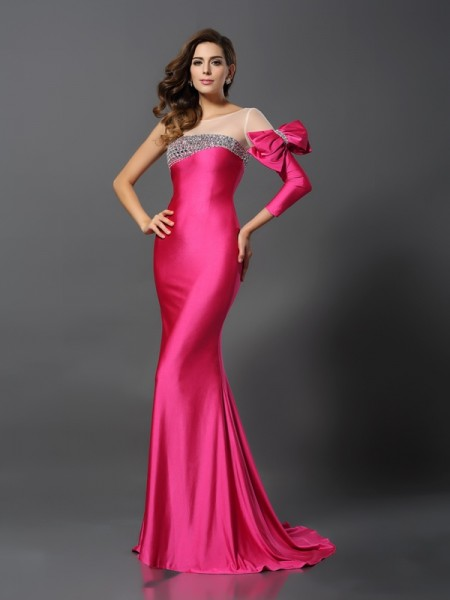 Trumpet/Mermaid Long Sleeves Bateau Sweep/Brush Train Spandex Bowknot Evening Dresses