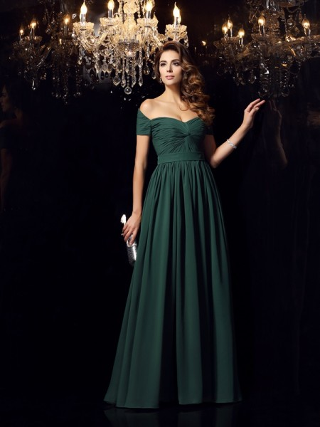 A-Line/Princess Sleeveless Off-the-Shoulder Chiffon Long Dresses with Ruched