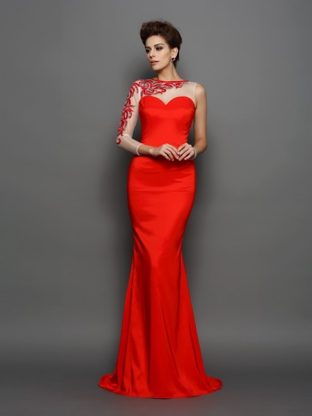 Trumpet/Mermaid High Neck Long Sleeves Elastic Woven Satin Embroidery Court Train Evening Dresses