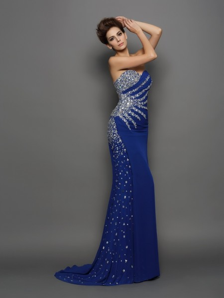 Trumpet/Mermaid Sweetheart Chiffon Sleeveless Court Train Evening Dresses with Rhinestone
