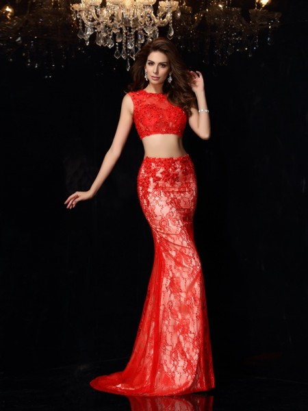 Sheath/Column Scoop Sleeveless Sweep/Brush Train Elastic Woven Satin Lace Prom/Evening Dresses