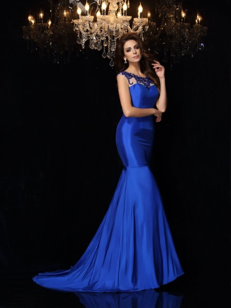 Trumpet/Mermaid Sleeveless Taffeta Bateau Court Train Evening/Formal Dresses with Applique