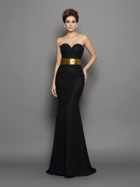 Trumpet/Mermaid Sweetheart Chiffon Sleeveless Court Train Evening Dresses with Sash/Ribbon/Belt