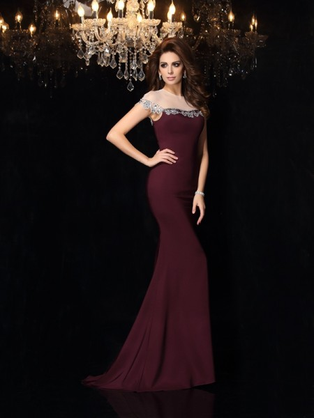 Trumpet/Mermaid Sleeveless High Neck Elastic Woven Satin Court Train Evening/Formal Dresses with Applique