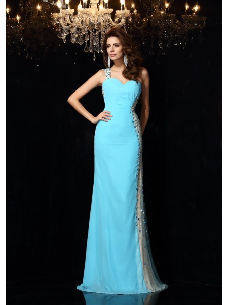 Sheath/Column One-Shoulder Sleeveless Chiffon Long Prom/Evening Dresses with Rhinestone