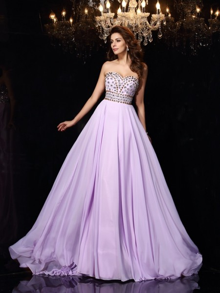 A-Line/Princess Sweetheart Sleeveless Chiffon Long Prom/Evening Dresses with Beading