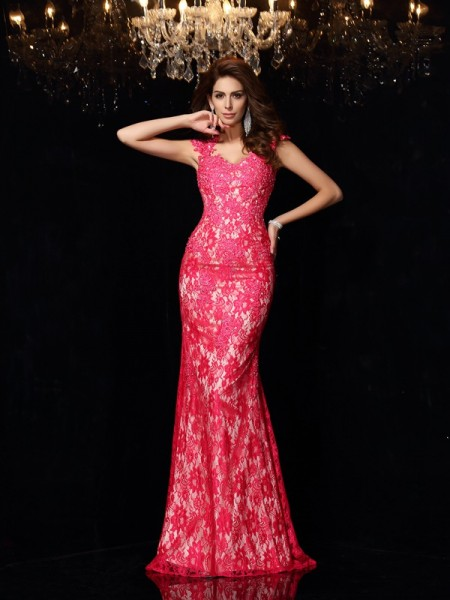 Sheath/Column V-neck Sleeveless Lace Elastic Woven Satin Long Prom/Evening Dresses