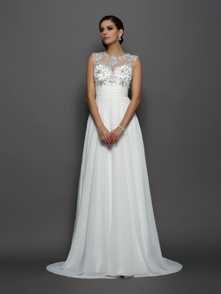 A-Line/Princess Bateau Sleeveless Chiffon Court Train Evening/Formal Dresses with Applique