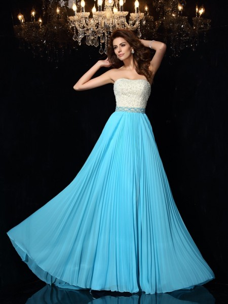 A-Line/Princess Strapless Sleeveless Chiffon Sweep/Brush Train Prom/Evening Dresses with Beading