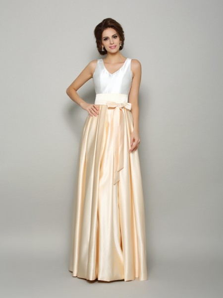 A-Line/Princess Sleeveless Satin V-neck Floor-Length Bowknot Dresses