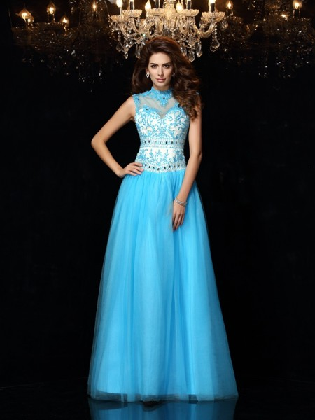 A-Line/Princess High Neck Sleeveless Floor-Length Satin Dresses with Applique
