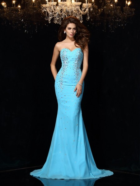 Sheath/Column Sweetheart Sleeveless Court Train Chiffon Prom/Evening Dresses with Beading