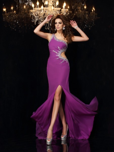 Sheath/Column One-Shoulder Sleeveless Chiffon Long Prom/Evening Dresses with Beading