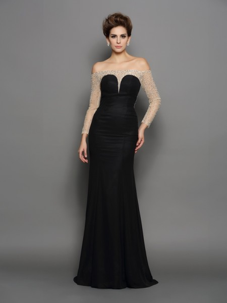 Trumpet/Mermaid Off-the-Shoulder Long Sleeves Chiffon Sweep/Brush Train Prom/Evening Dresses with Beading