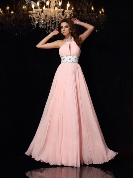 A-Line/Princess Sleeveless High Neck Chiffon Floor-Length Prom/Evening Dresses with Pleats