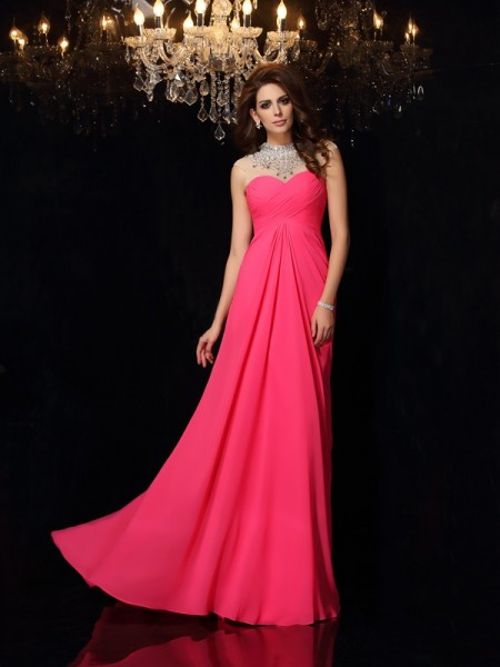A-Line/Princess Sleeveless High Neck Chiffon Sweep/Brush Train Prom/Evening Dresses with Ruched