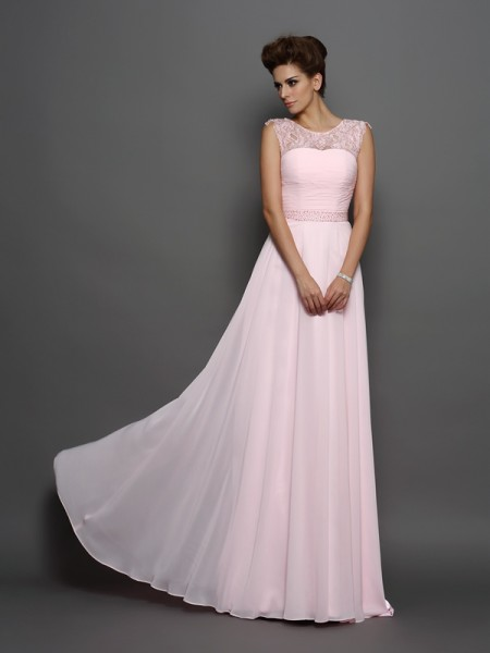 A-Line/Princess Sleeveless Scoop Chiffon Sweep/Brush Train Prom/Evening Dresses with Beading