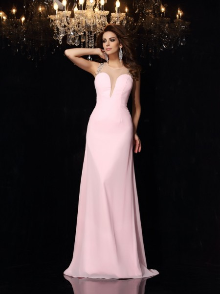 Trumpet/Mermaid Scoop Chiffon Sleeveless Court Train Prom Dresses with Beading