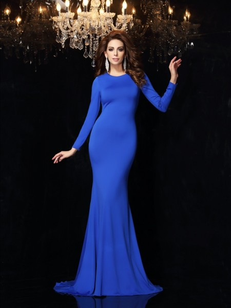 Trumpet/Mermaid Scoop Long Sleeves Sweep/Brush Train Spandex Prom/Evening Dresses