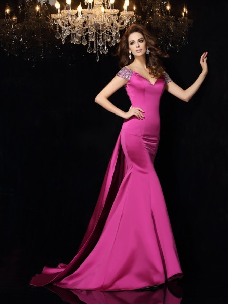 Trumpet/Mermaid Off-the-Shoulder Sleeveless Satin Court Train Prom/Evening Dresses with Beading