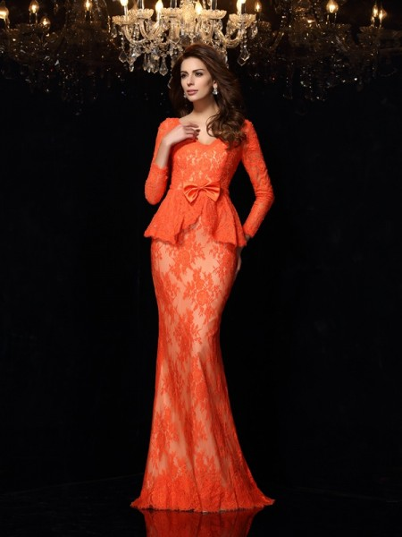 Sheath/Column V-neck Long Sleeves Bowknot Lace Sweep/Brush Train Prom/Evening Dresses