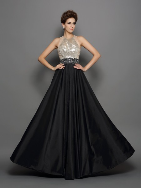A-Line/Princess Sleeveless Taffeta High Neck Sequin Long Prom/Evening Dresses
