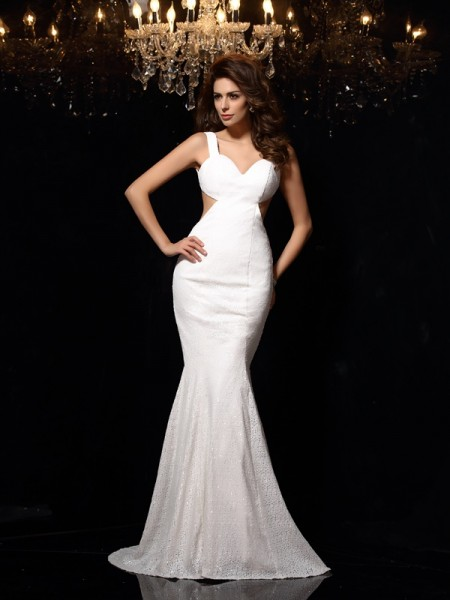 Trumpet/Mermaid Straps Sleeveless Lace Court Train Prom/Evening Dresses with Beading